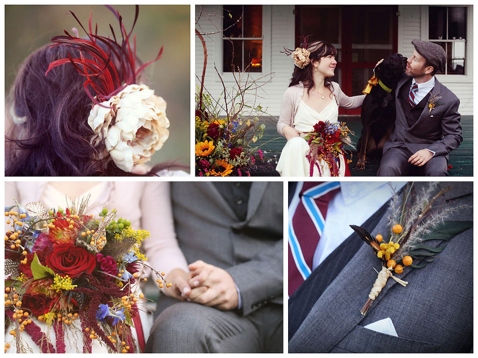 Boho fall wedding flowers