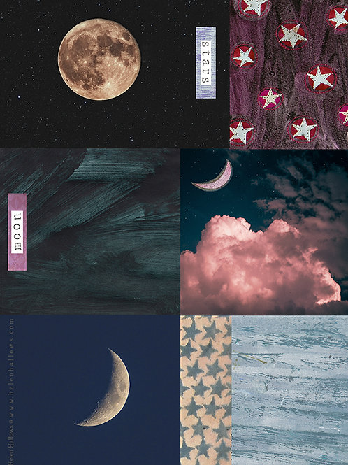 Moon and Stars 1 - collage sheet