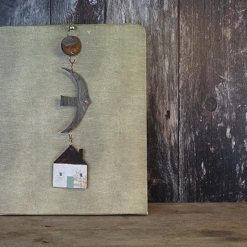 Dark Moon Hanging decoration - house/ rusty moon /bird