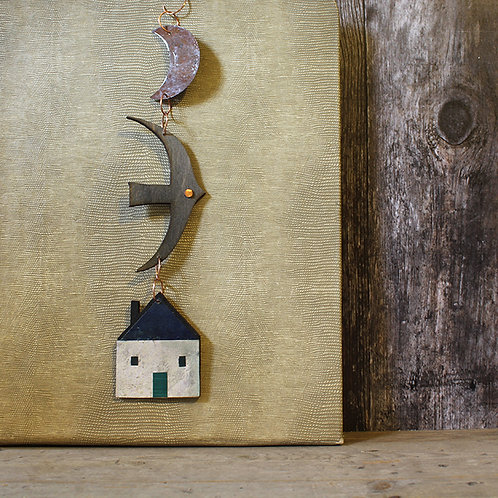 Hanging decoration - house/ rusty moon /bird
