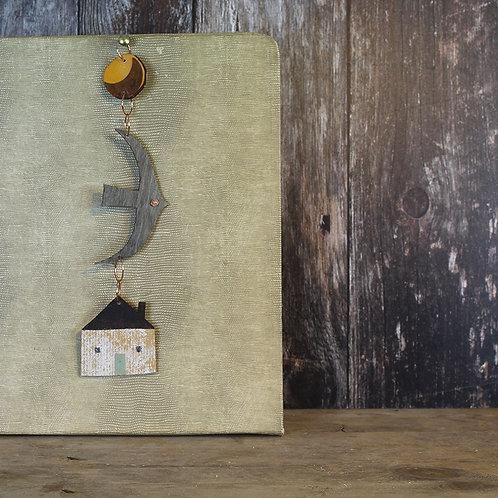 Yellow Moon Hanging decoration - house/ rusty moon /bird