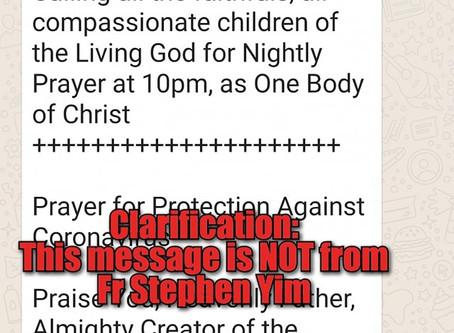 Fake News Alert on '10pm Prayer'