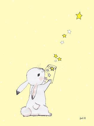 Leinwand Hase mit Sternen