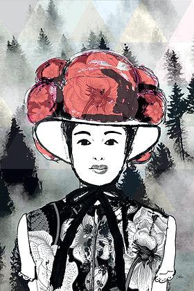 Bollenhut Pfingstrose Mono mit rot