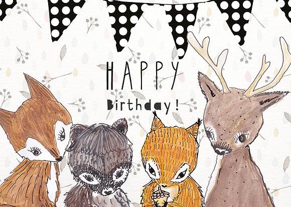 Waldtiere Happy Birthday