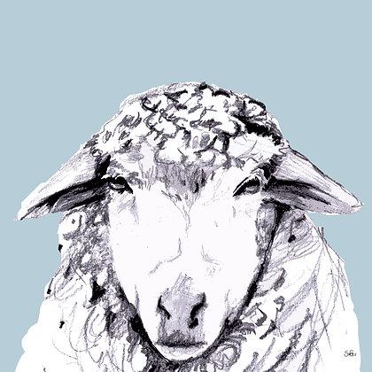 Leinwand Schaf Blau