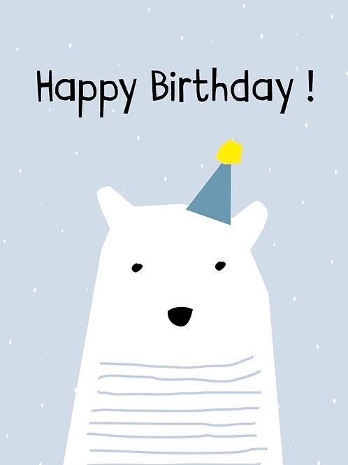 Minimal Eisbär Happy Birthday