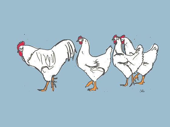 Leinwand Hühnerreihe blau