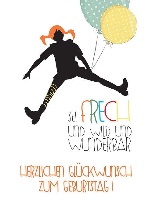 Pippi/Ballon Glückwunsch