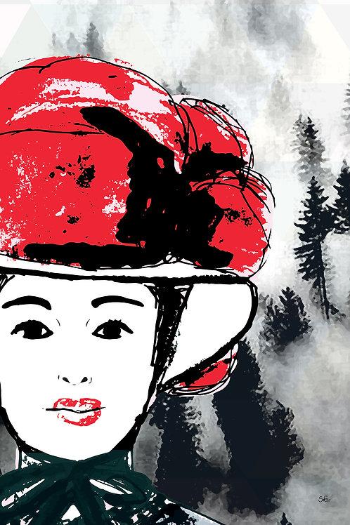 Gesicht Traditionell rot mit Wald im Nebel