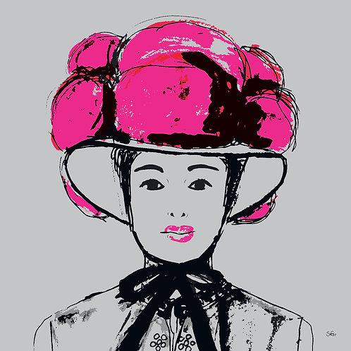 Leinwand Bollenhut pink grau