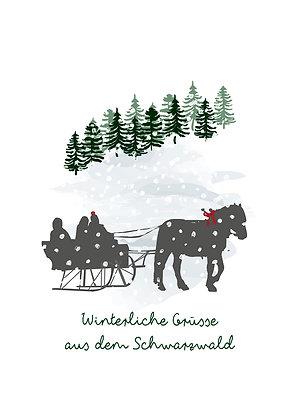 Pferdeschlitten-Winterliche Grüsse aus dem Schwarzwald
