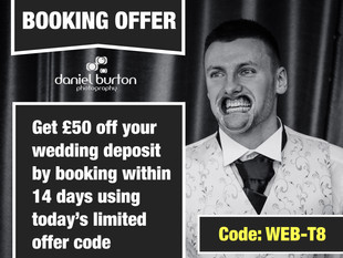 Today's limited discount offer code! £50 OFF BOOKING!