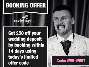£50 off Wedding Deposit with DBP booking code!