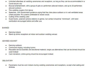 New UK wedding rules from 21st June 2021