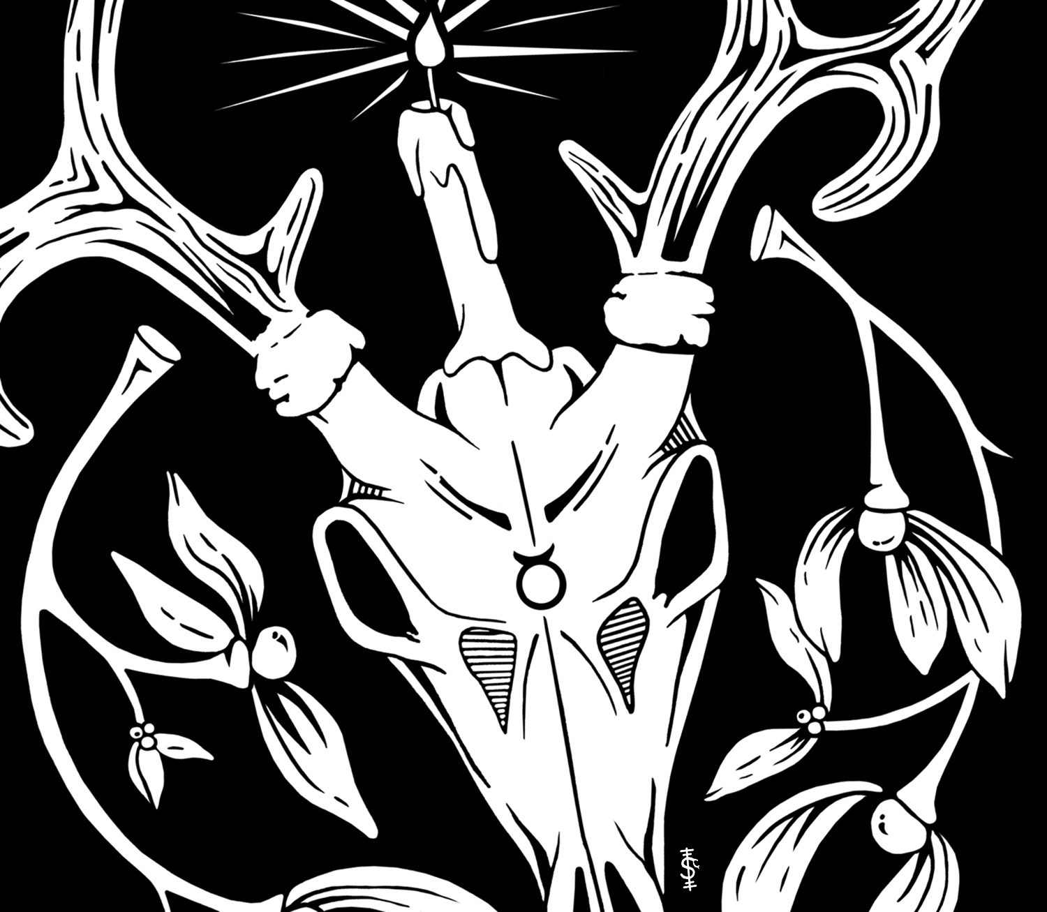 Horned God Yule Illustration