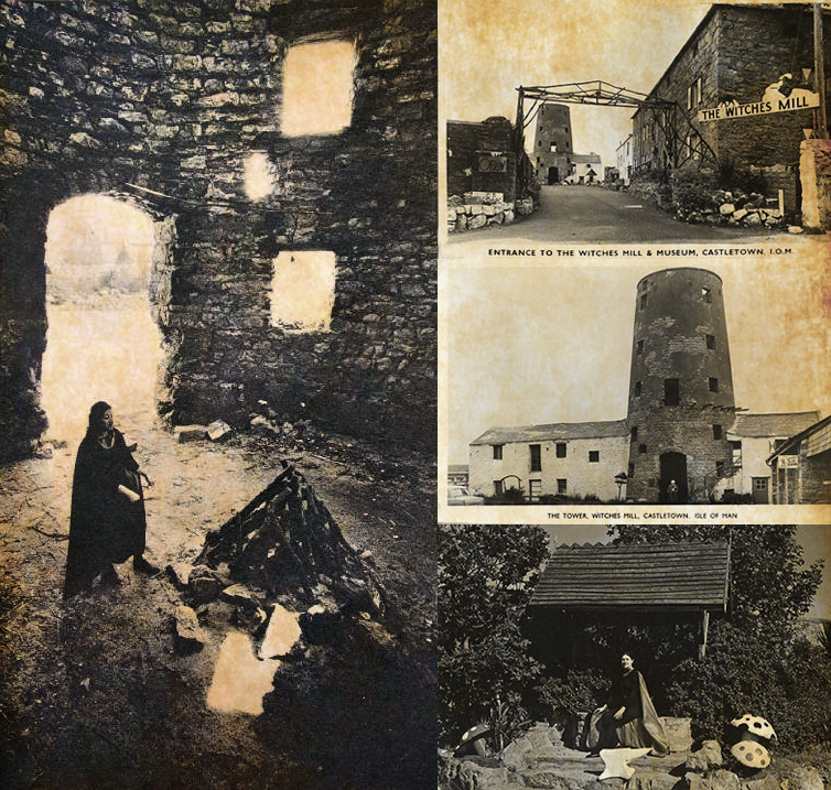 left: Monique Wilson inside of the Mill upper right: The Witches Mill including the Witchcraft Museum Taken in the 1960s middle right: The Witches Mill, Arbory Road, Castletown - Gardner can be seen standing in the doorway of the Tower  lower right: The Witches Mill with Monique Wilson sitting by the Wishing Well