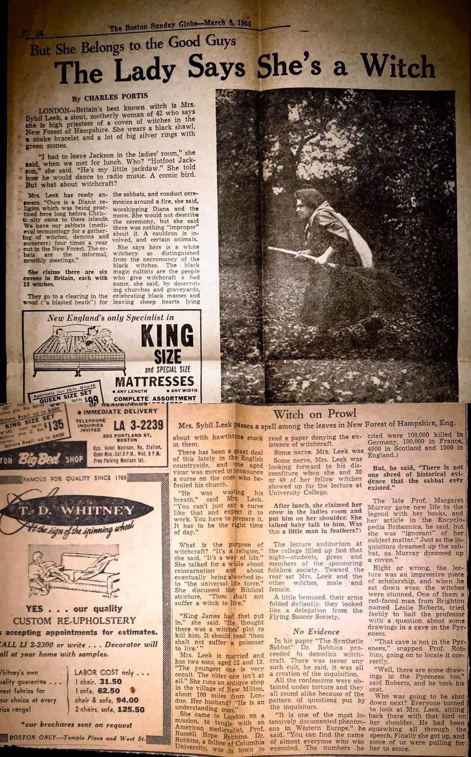 Sybil Leek Article - The Boston Sunday Globe - March 8, 1964