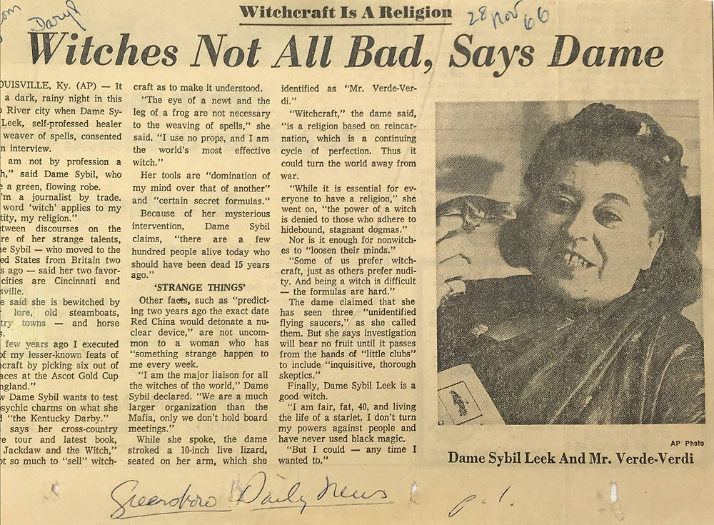 Dame Sybil Leek Article Witches Not All Bad