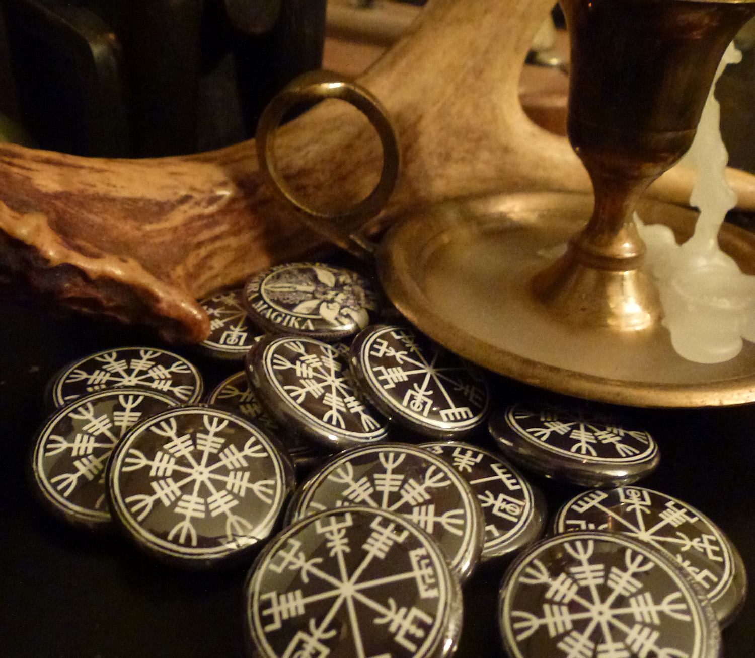 Vegvisir and Aegishjalmur Sigil Buttons