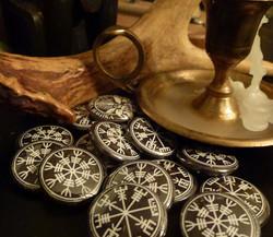 Vegvisir and Aegishjalmur Sigil Buttons