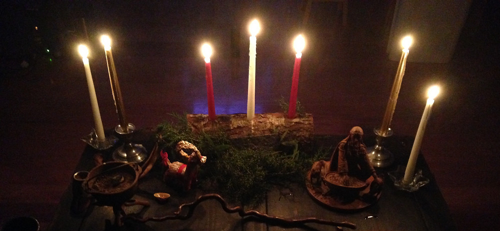 Wiccan Altar - Yule or the Winter Solstice