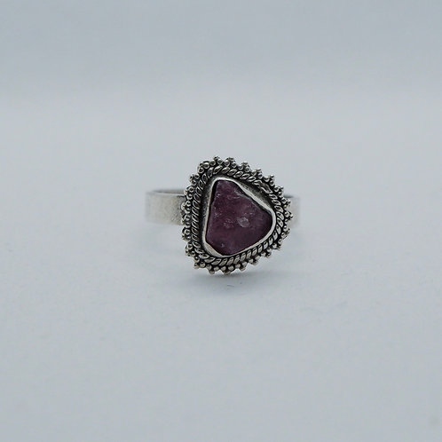 Red raw stone ring