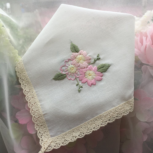 Laced handkerchief - Cherry Blossoms