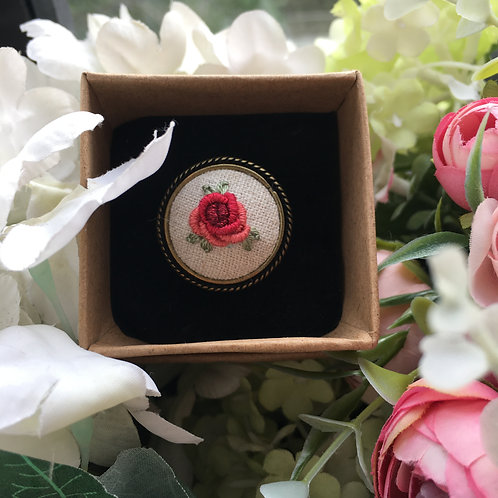 Embroidered Ring (Red Rose)