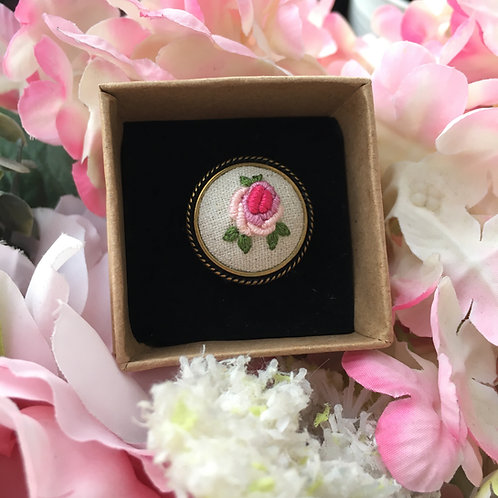 Embroidered Ring (Pink Rose)