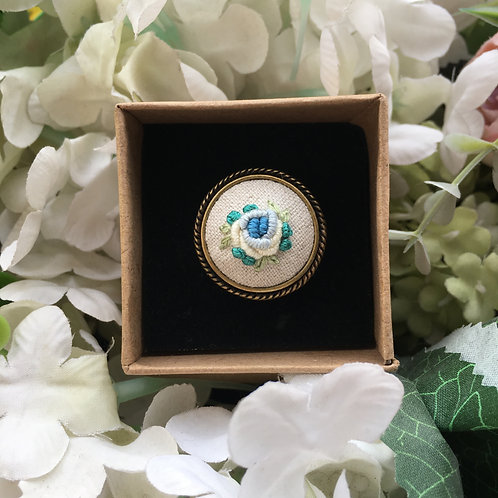 Embroidered Ring (Teal Rose)