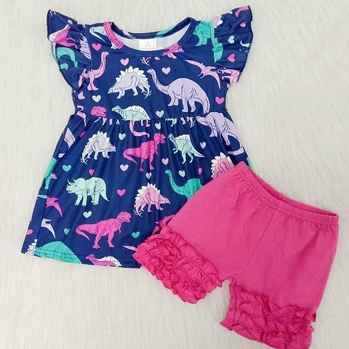 Dino Pearl and Ruffle shorties set (Pre-order)
