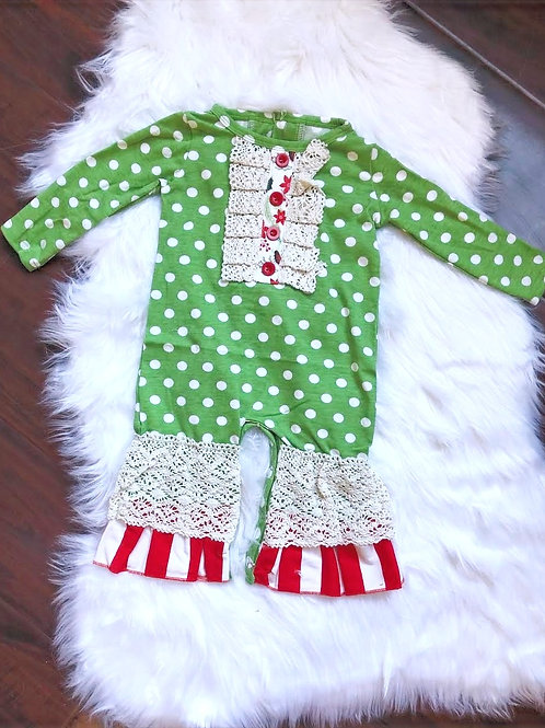 Green Polka Dot Jolly Romper