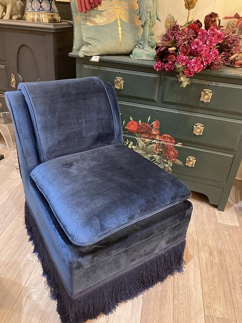 Sapphire Blue Velvet Bedroom Chair