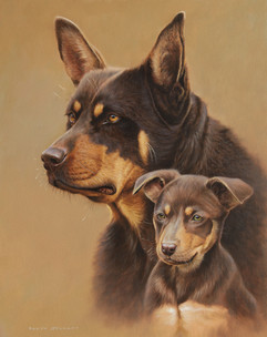 'Mother and Son' Kelpies 39 x 50 cm mamm