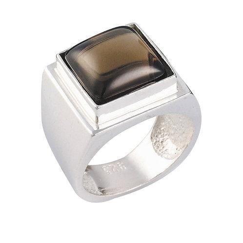 טבעת מוצפנת מרובעת סמוקי קוורץ