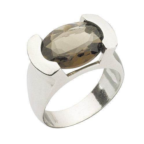 טבעת מוצפנת אובלית סמוקי קוורץ