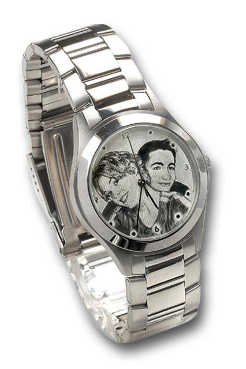 שעון עם חריטה אישית לוח כסף