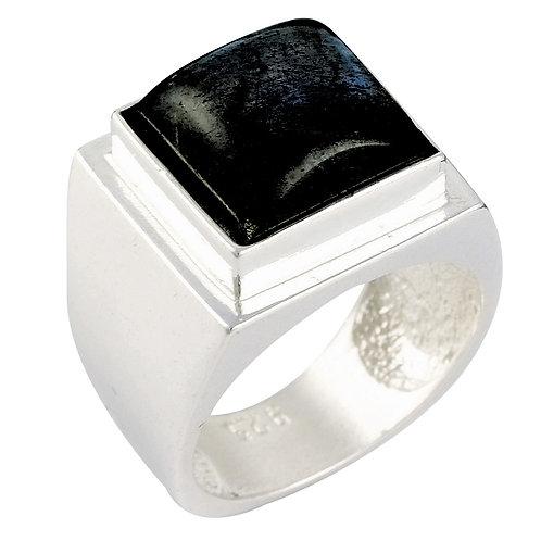 טבעת מוצפנת מרובעת טורמלין שחור
