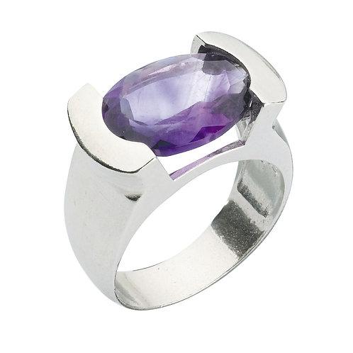 טבעת מוצפנת אובלית אמטיסט