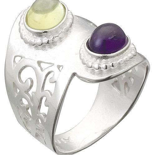 טבעת מוצפנת משולבת 2 אבנים