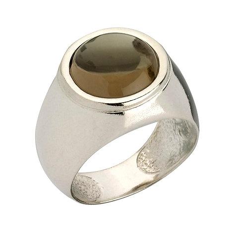 טבעת מוצפנת עגולה עם אבן סמוקי קוורץ