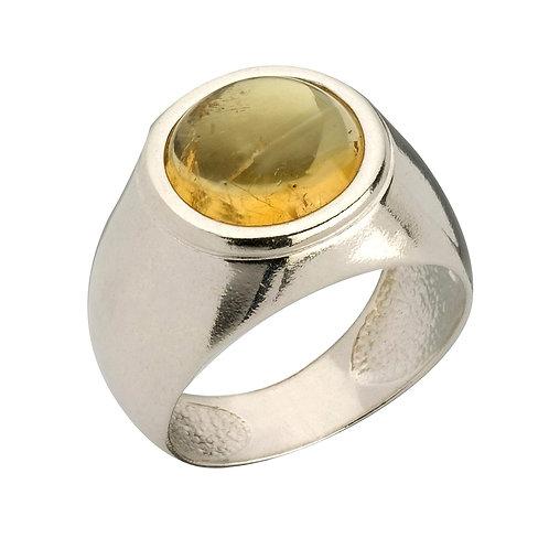 טבעת מוצפנת עגולה עם אבן סיטרין