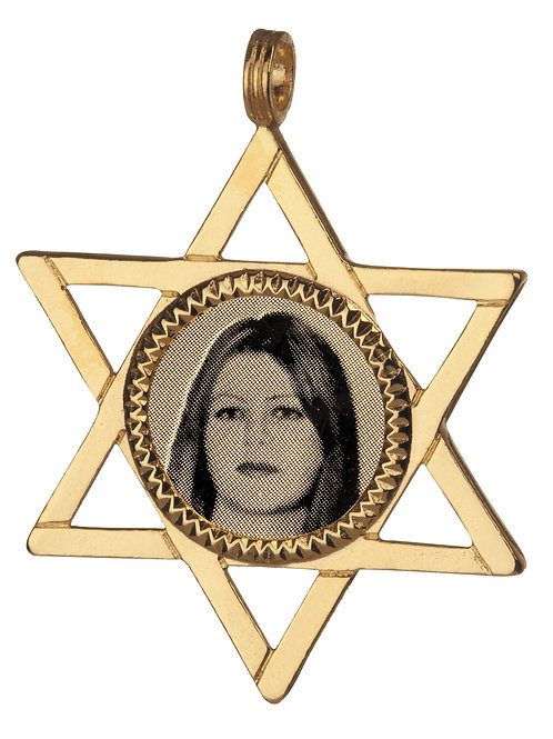 תליון זהב עם חריטה בצורת מגן דוד