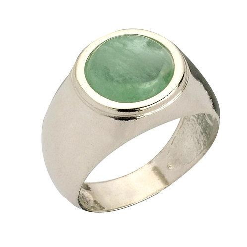 טבעת מוצפנת עגולה עם אבן פלואוריט