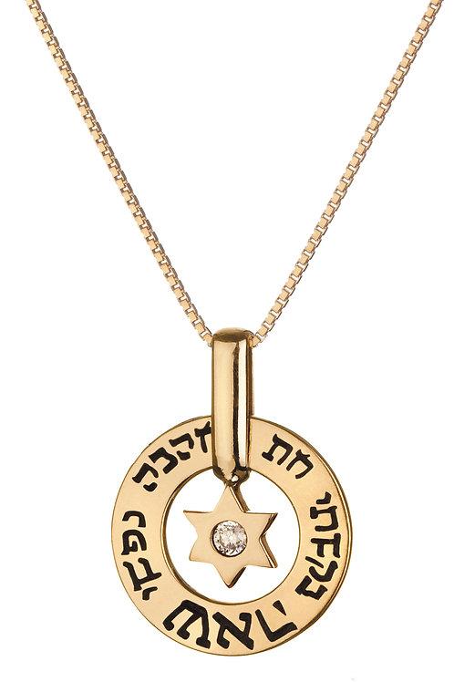 תליון זהב 9 קרט עם מגן דוד וזרקון