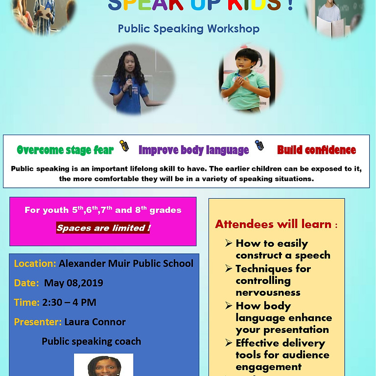 Public speaking workshop for youth