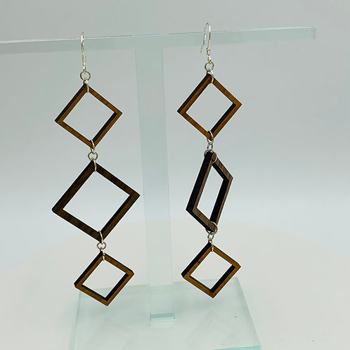 Triple Square Earrings
