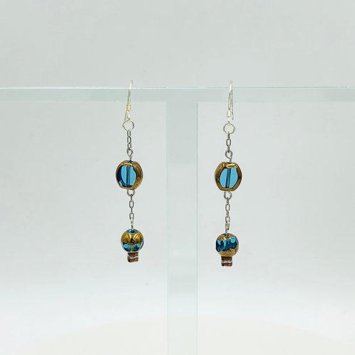 Gold and Aqua Dangle Earrings