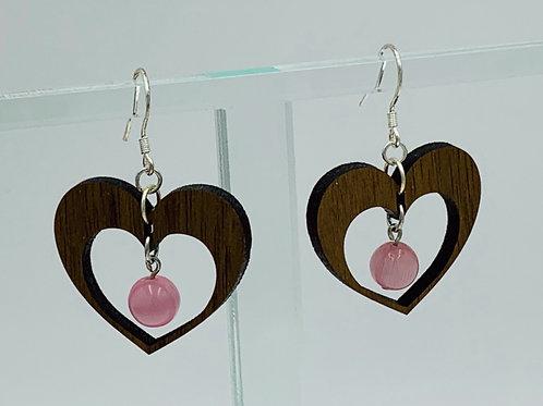 Heart Earrings with pink cats eye bead